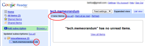 Google reader telling me that there are no unread items, while there are 2 new articles