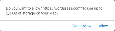 WordPress storage
