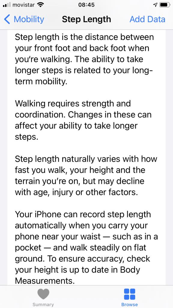 iOS 14 Step length